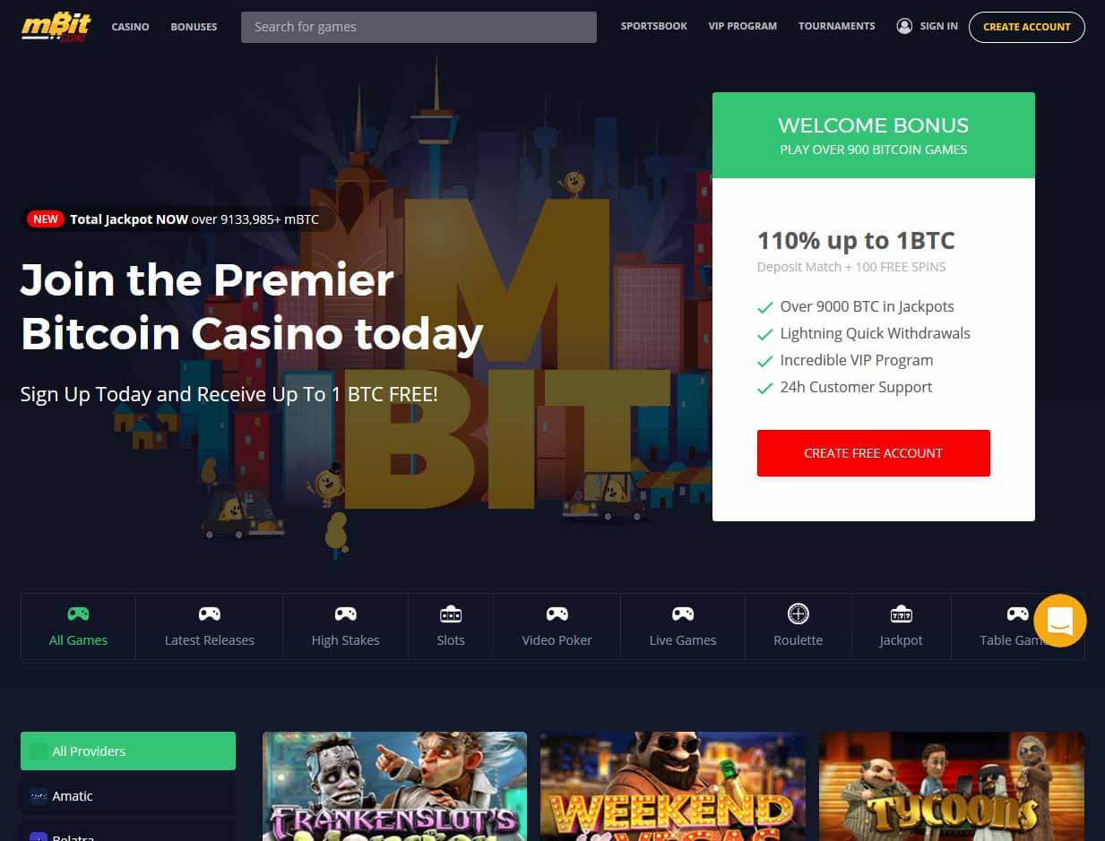 mBit Casino – Claim Your 110% Welcome Bonus up to 1 BTC